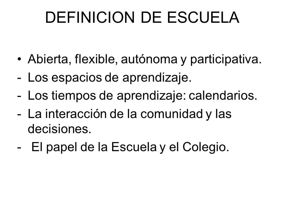 DEFINICION DE ESCUELA Abierta, flexible, autónoma y participativa.