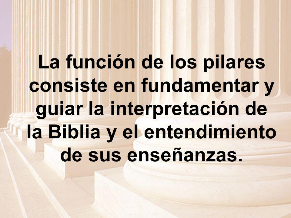 La función de los pilares consiste en fundamentar y guiar la interpretación de la Biblia y el entendimiento de sus enseñanzas.