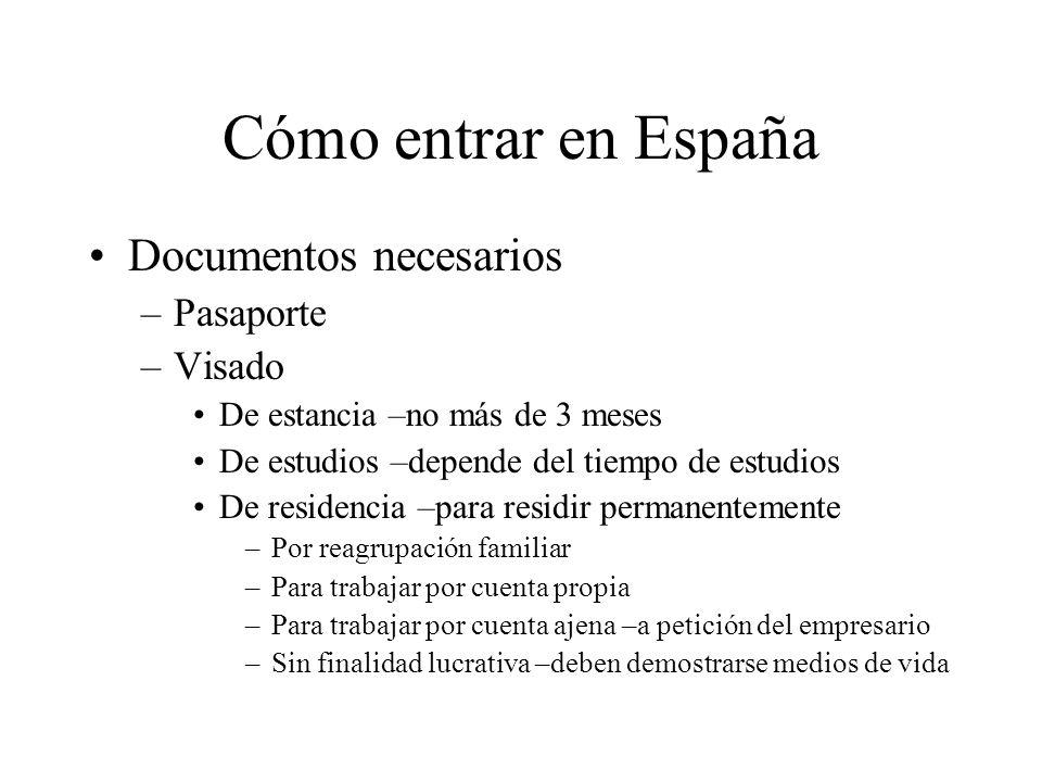 Cómo entrar en España Documentos necesarios Pasaporte Visado - ppt ...