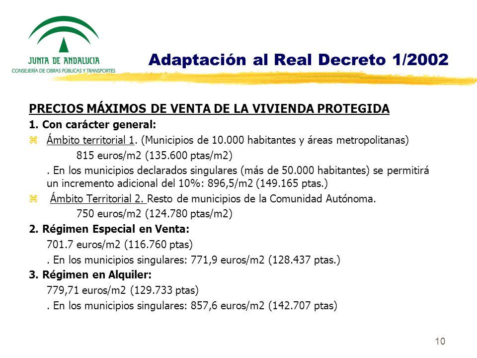 Adaptación al Real Decreto 1/2002
