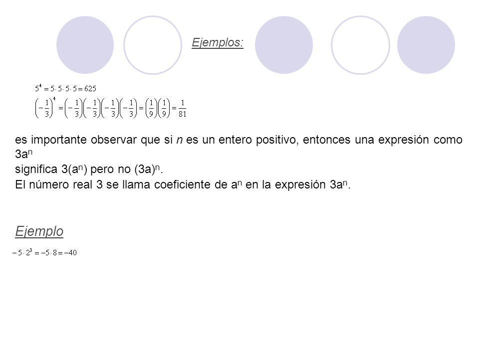es importante observar que si n es un entero positivo, entonces una expresión como 3an