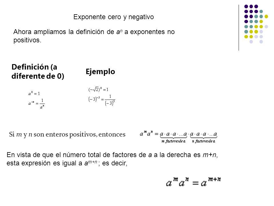 Exponente cero y negativo