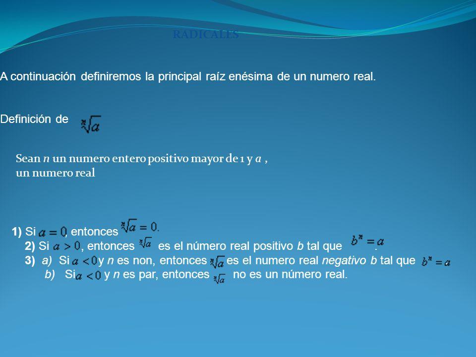 RADICALES A continuación definiremos la principal raíz enésima de un numero real. Definición de