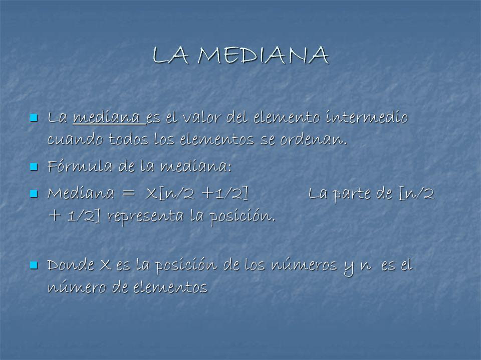 LA MEDIANALa mediana es el valor del elemento intermedio cuando todos los elementos se ordenan. Fórmula de la mediana: