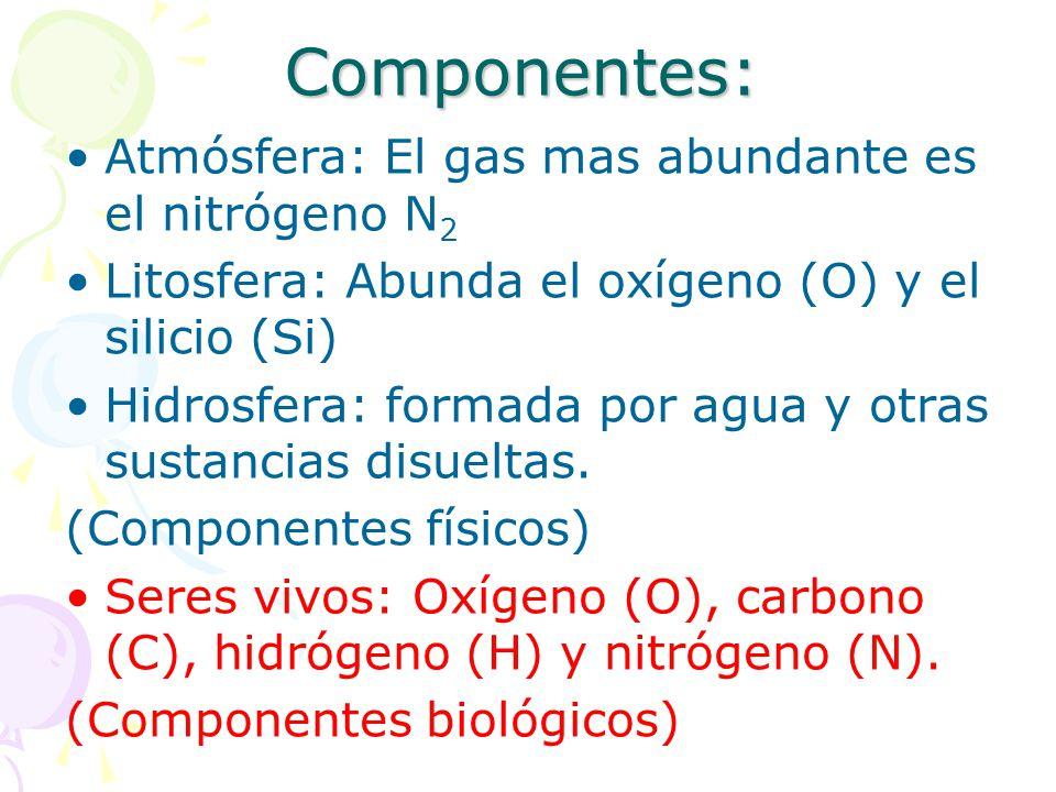 Componentes: Atmósfera: El gas mas abundante es el nitrógeno N2