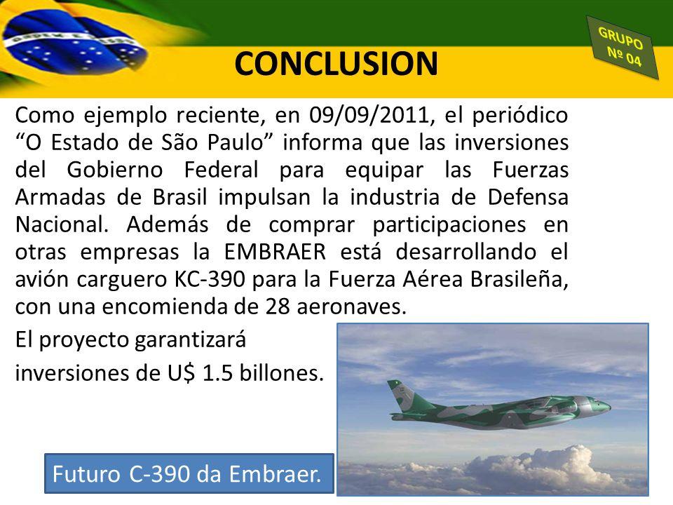 CONCLUSION Futuro C-390 da Embraer.