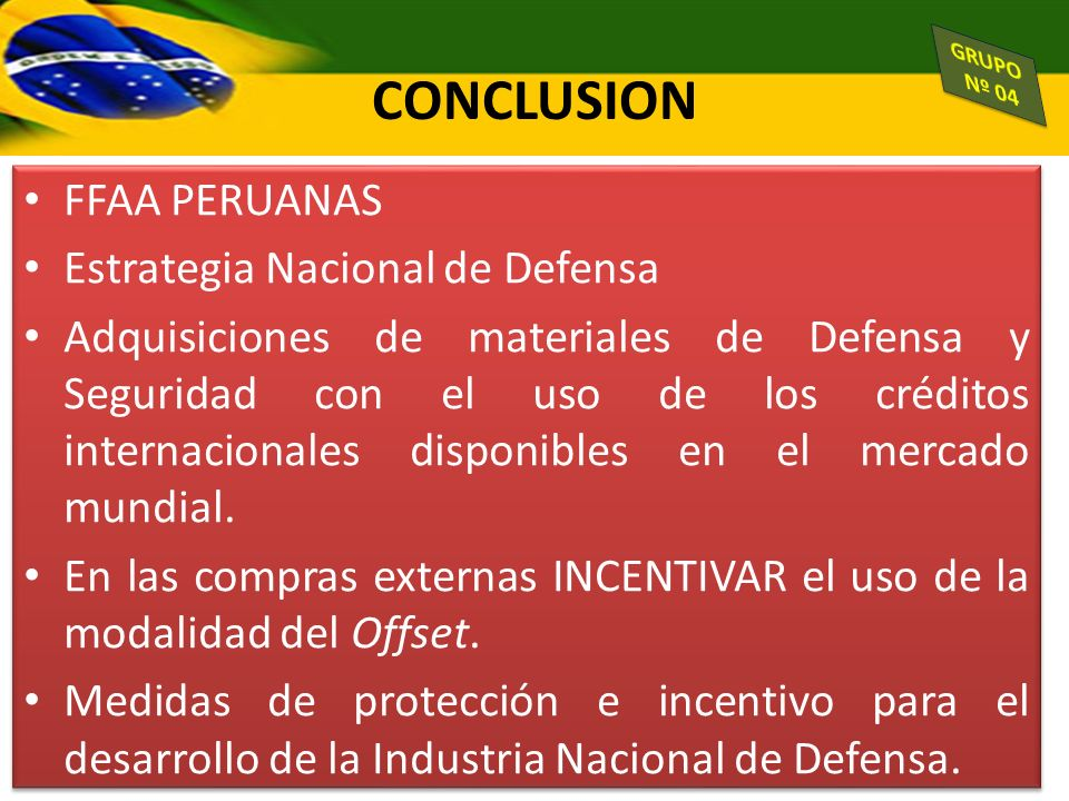 CONCLUSION FFAA PERUANAS Estrategia Nacional de Defensa
