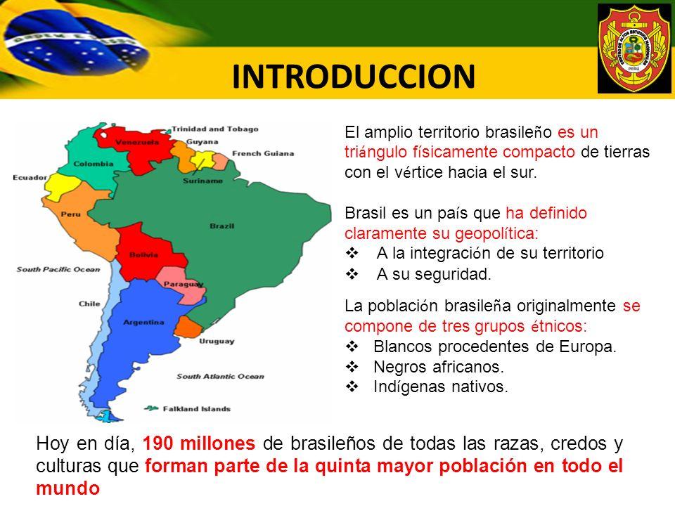 INTRODUCCION El amplio territorio brasileño es un triángulo físicamente compacto de tierras con el vértice hacia el sur.