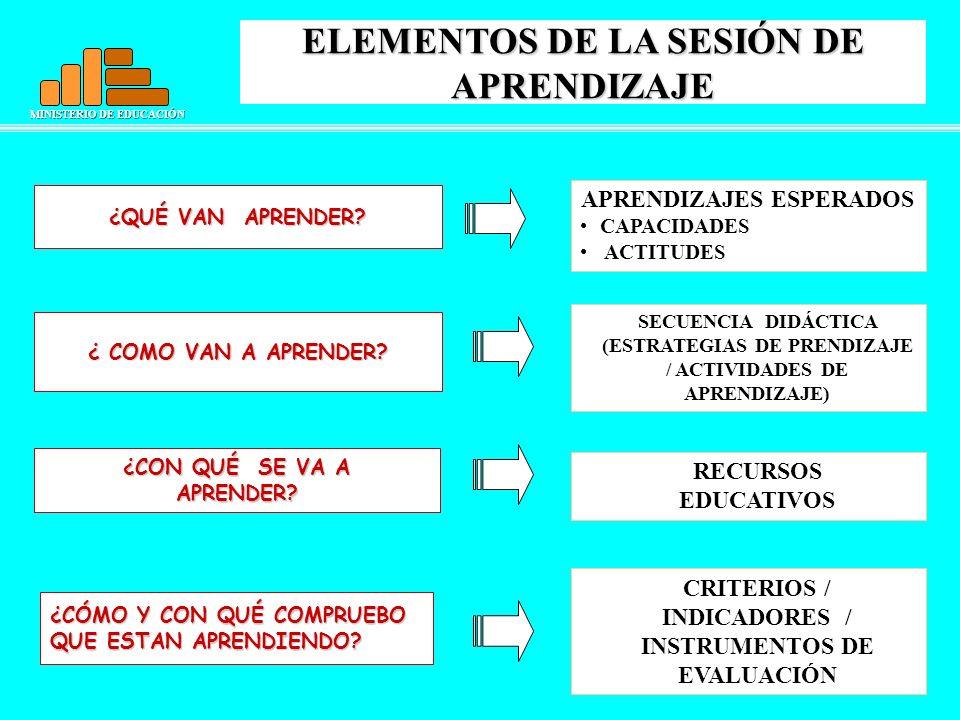 ELEMENTOS DE LA SESIÓN DE APRENDIZAJE