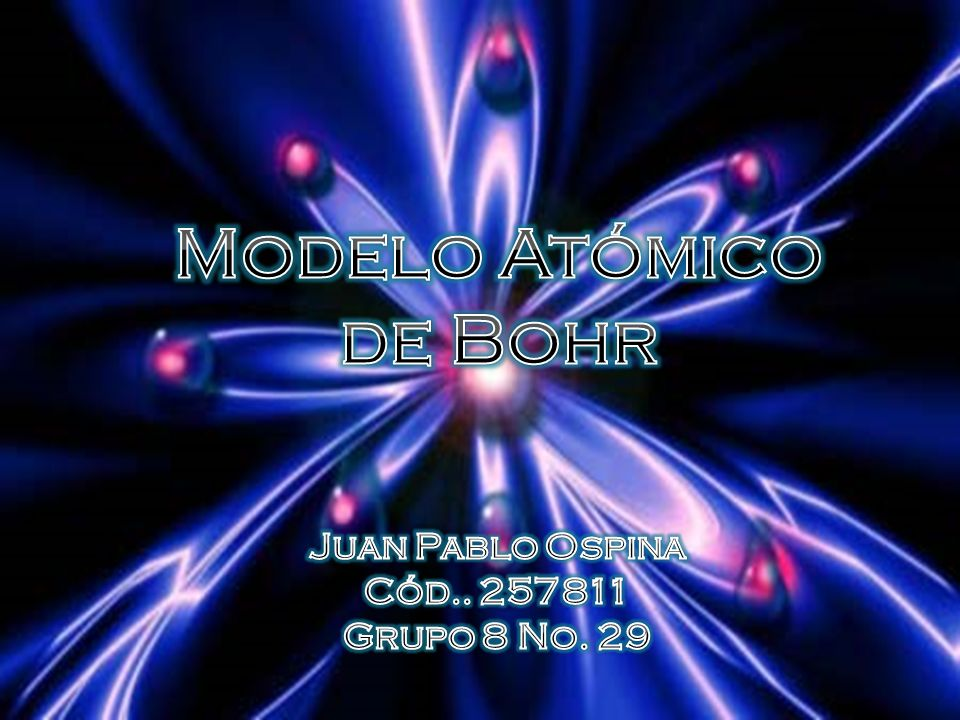 Modelo Atómico de Bohr Juan Pablo Ospina Cód.. 257811 Grupo 8 No. 29