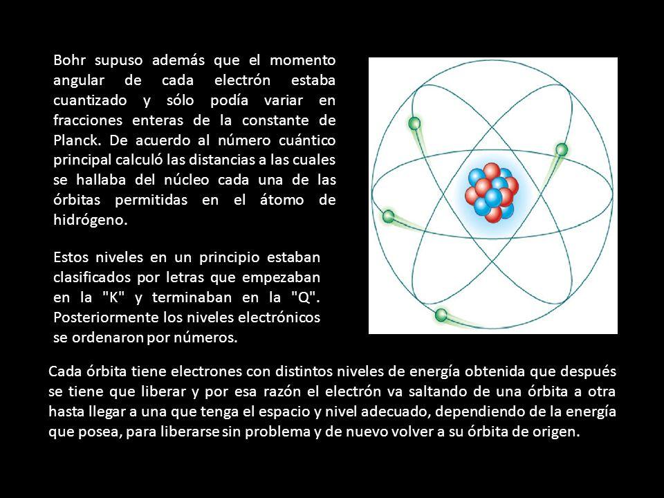 Bohr supuso además que el momento angular de cada electrón estaba cuantizado y sólo podía variar en fracciones enteras de la constante de Planck. De acuerdo al número cuántico principal calculó las distancias a las cuales se hallaba del núcleo cada una de las órbitas permitidas en el átomo de hidrógeno.