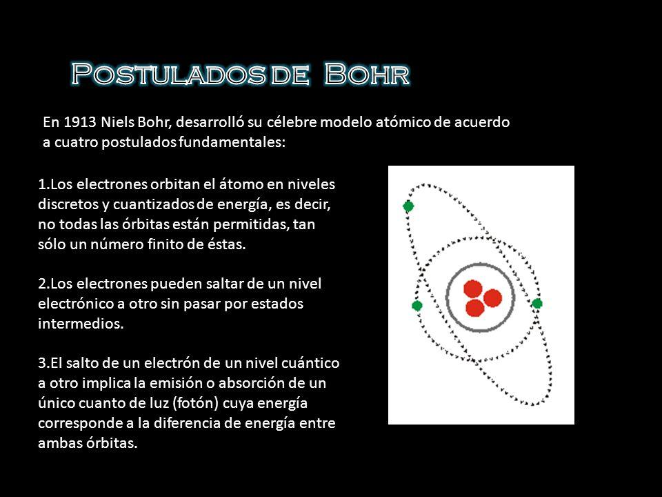 Postulados de BohrEn 1913 Niels Bohr, desarrolló su célebre modelo atómico de acuerdo a cuatro postulados fundamentales: