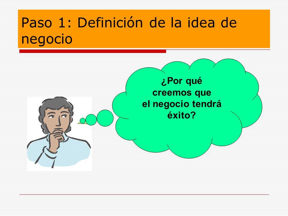 Paso 1: Definición de la idea de negocio