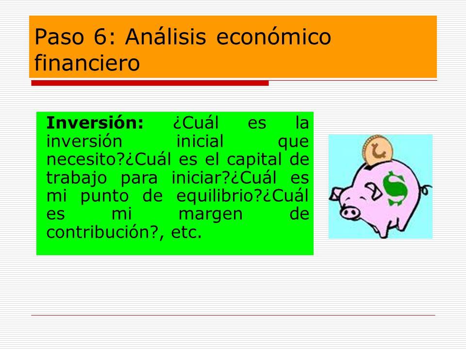 Paso 6: Análisis económico financiero