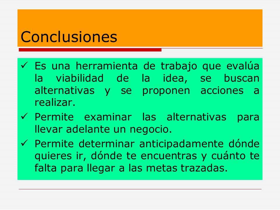 Conclusiones Es una herramienta de trabajo que evalúa la viabilidad de la idea, se buscan alternativas y se proponen acciones a realizar.