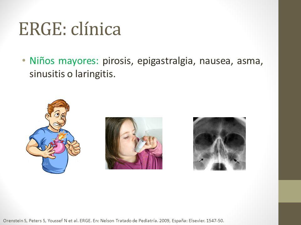 ERGE: clínicaNiños mayores: pirosis, epigastralgia, nausea, asma, sinusitis o laringitis.