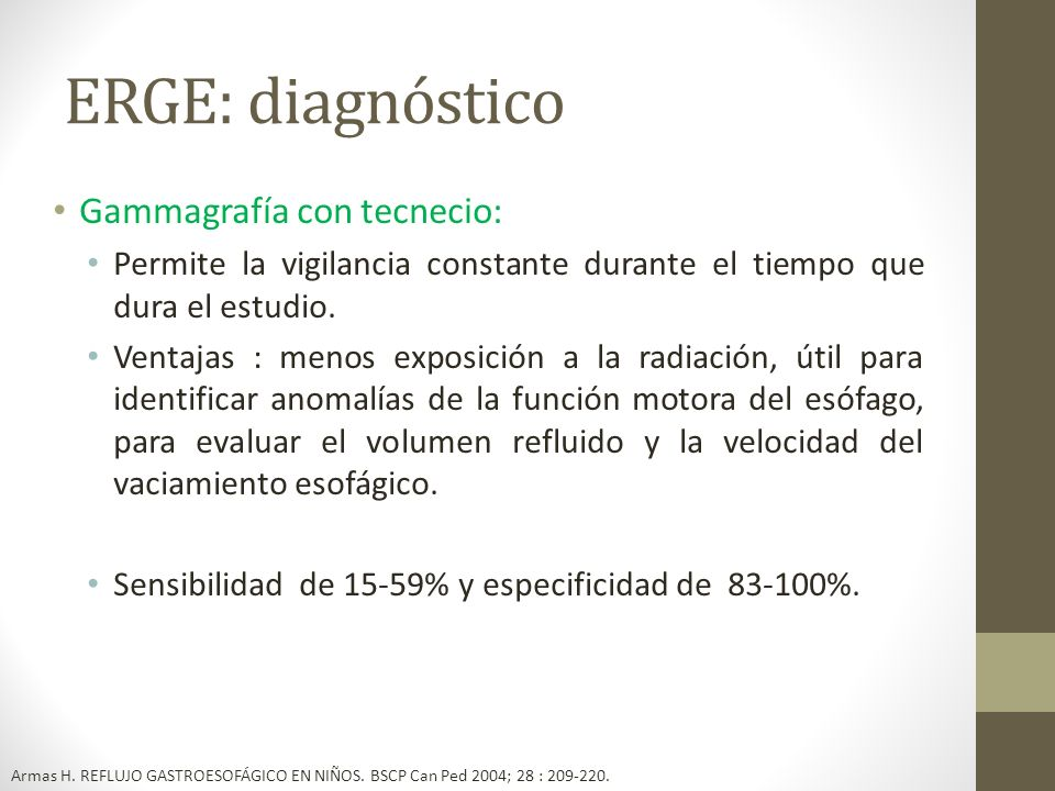 ERGE: diagnóstico Gammagrafía con tecnecio: