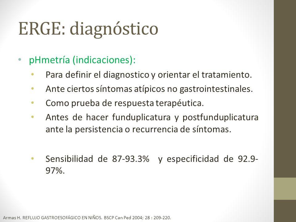 ERGE: diagnóstico pHmetría (indicaciones):