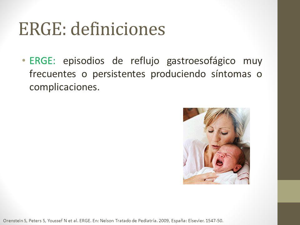 ERGE: definicionesERGE: episodios de reflujo gastroesofágico muy frecuentes o persistentes produciendo síntomas o complicaciones.