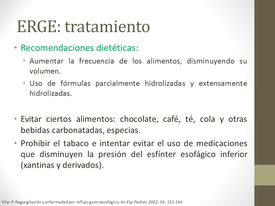 ERGE: tratamiento Recomendaciones dietéticas: