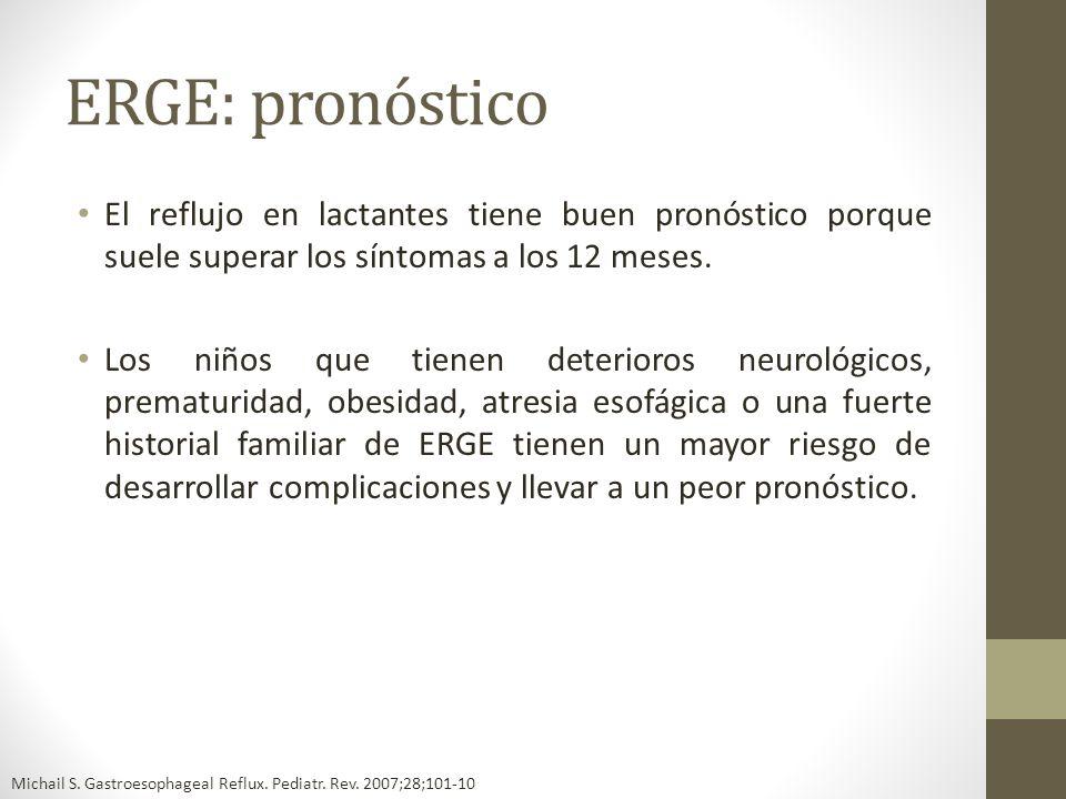 ERGE: pronóstico El reflujo en lactantes tiene buen pronóstico porque suele superar los síntomas a los 12 meses.