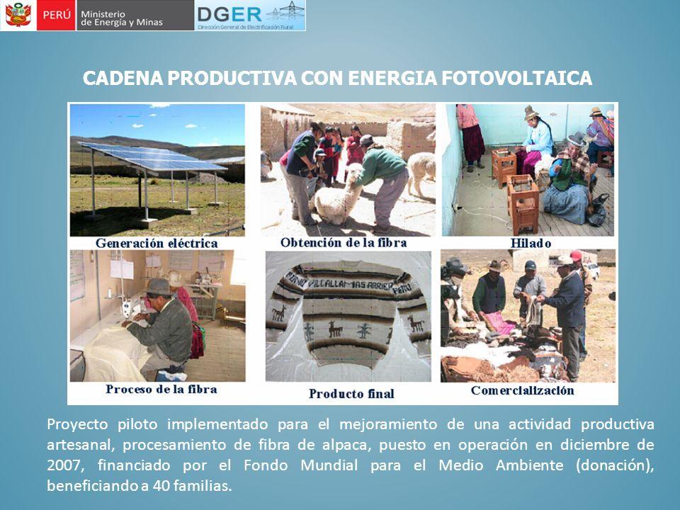 CADENA PRODUCTIVA CON ENERGIA FOTOVOLTAICA