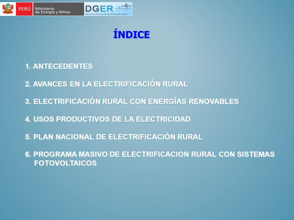 ÍNDICE 1. ANTECEDENTES 2. AVANCES EN LA ELECTRIFICACIÓN RURAL