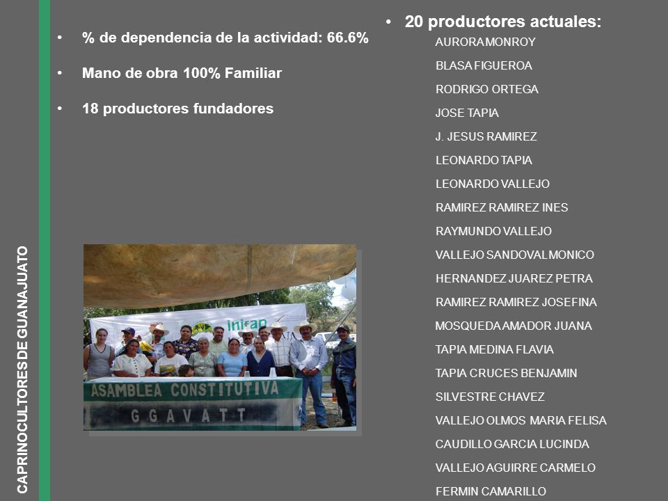 20 productores actuales: