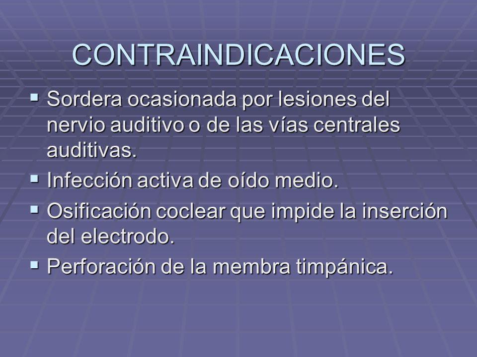 CONTRAINDICACIONES Sordera ocasionada por lesiones del nervio auditivo o de las vías centrales auditivas.
