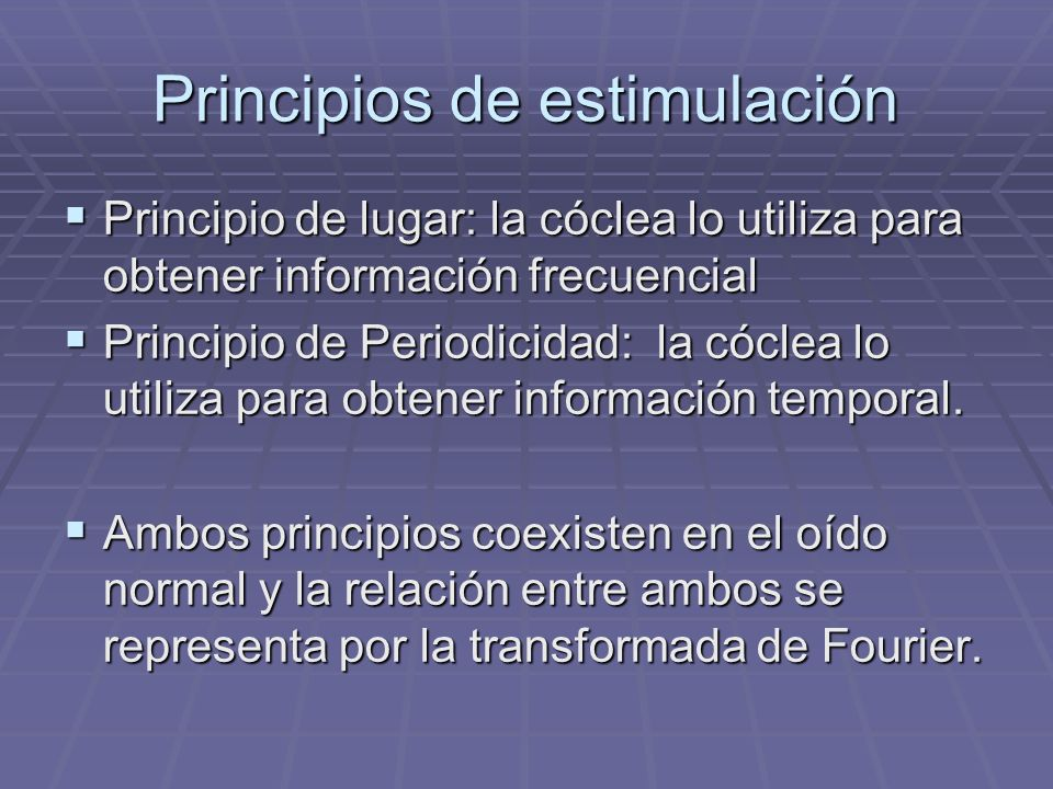 Principios de estimulación
