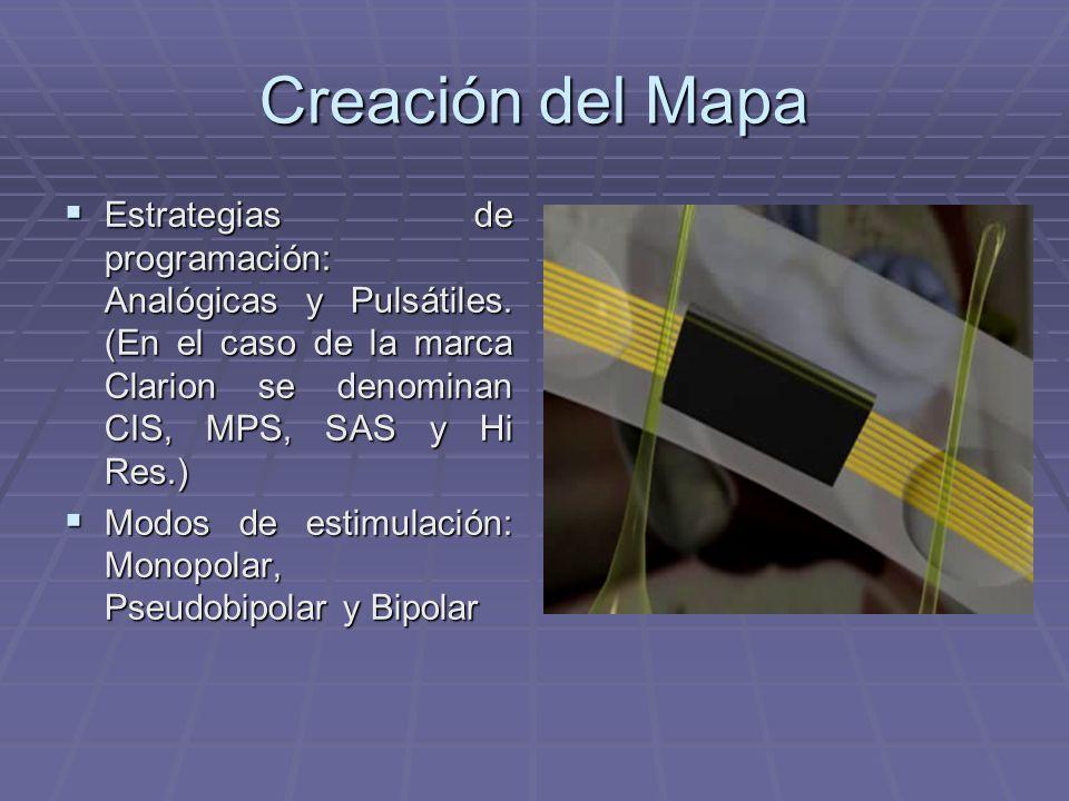 Creación del Mapa Estrategias de programación: Analógicas y Pulsátiles. (En el caso de la marca Clarion se denominan CIS, MPS, SAS y Hi Res.)