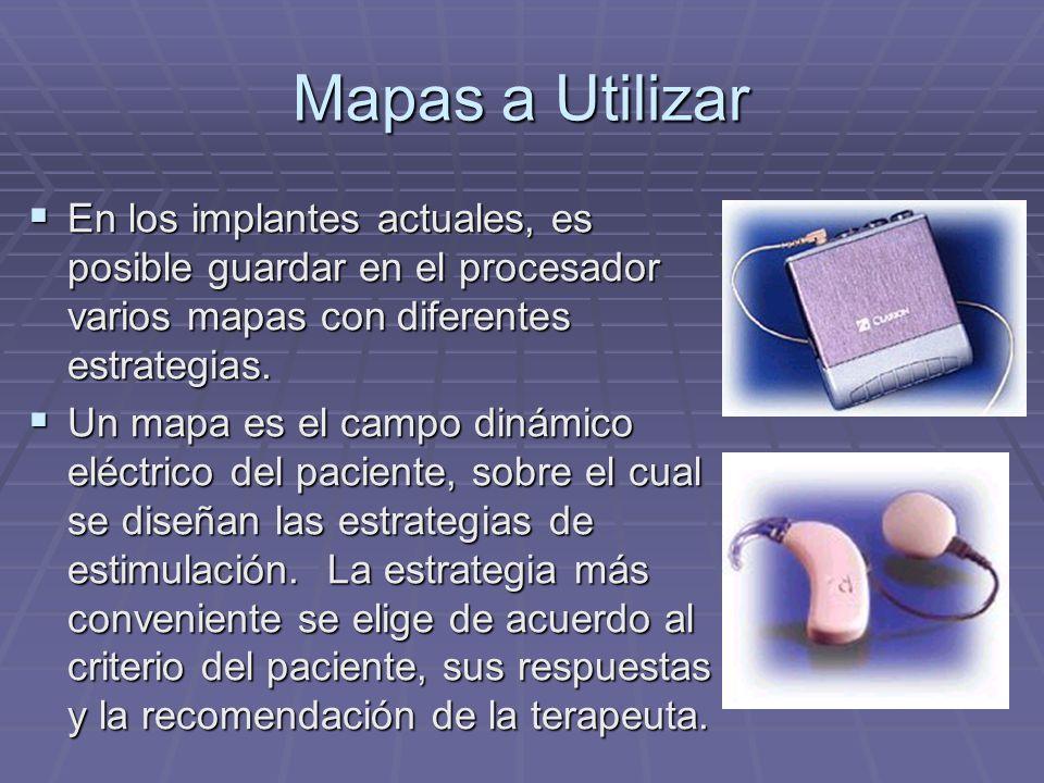 Mapas a Utilizar En los implantes actuales, es posible guardar en el procesador varios mapas con diferentes estrategias.