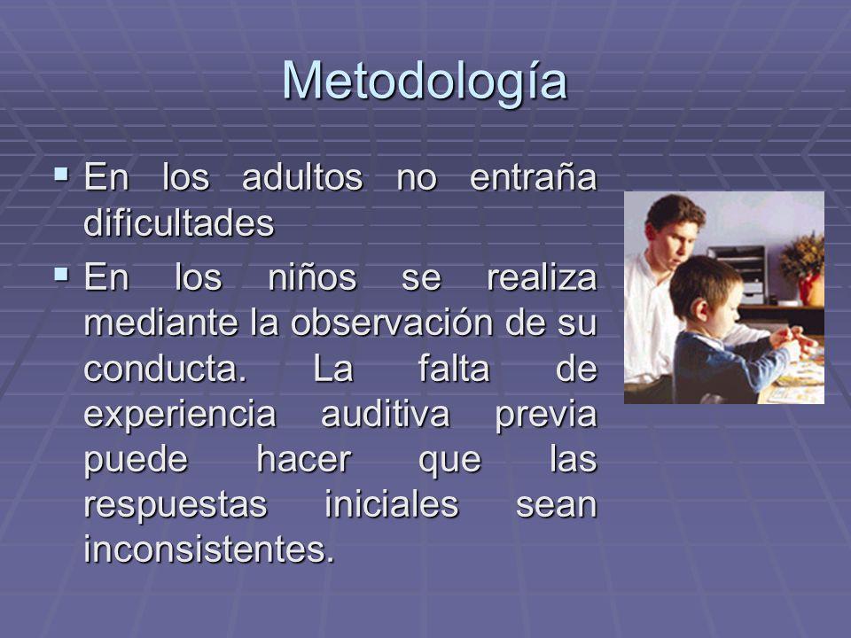 Metodología En los adultos no entraña dificultades