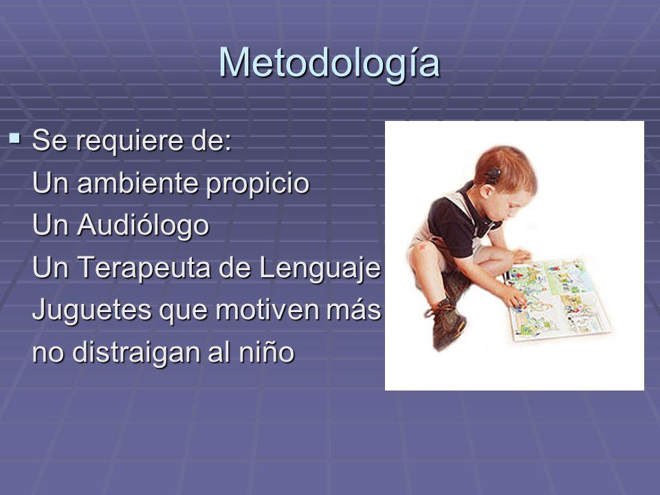 Metodología Se requiere de: Un ambiente propicio Un Audiólogo