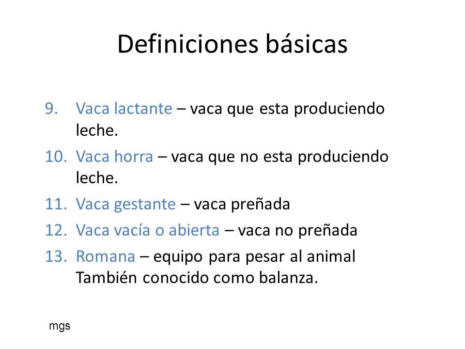 Definiciones básicas Vaca lactante – vaca que esta produciendo leche.