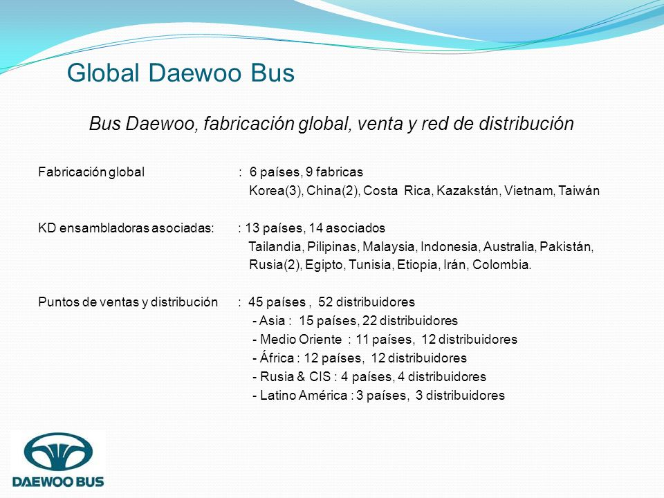 Bus Daewoo, fabricación global, venta y red de distribución