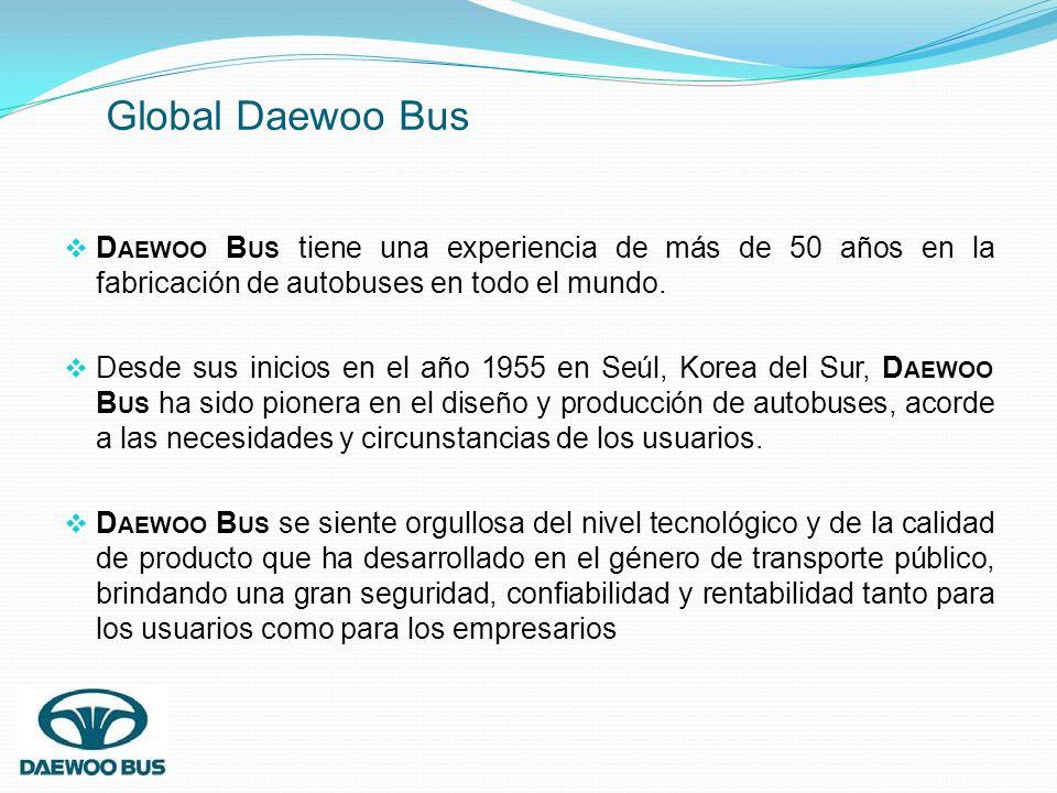 Global Daewoo Bus Daewoo Bus tiene una experiencia de más de 50 años en la fabricación de autobuses en todo el mundo.