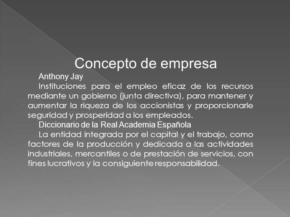Concepto de empresa Anthony Jay