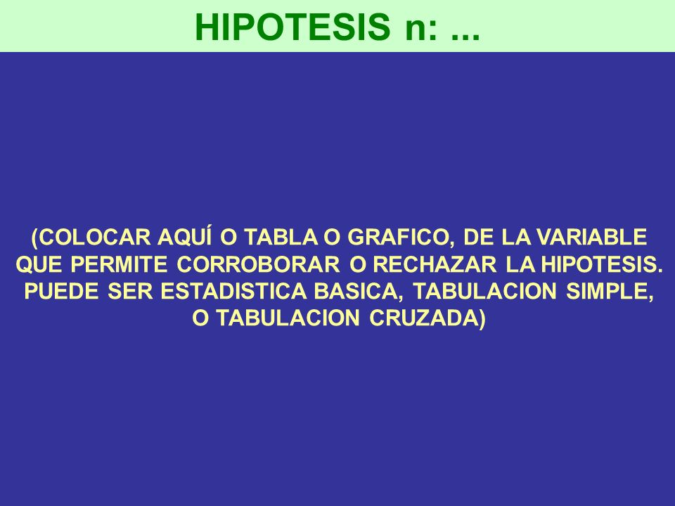 HIPOTESIS n: ... (COLOCAR AQUÍ O TABLA O GRAFICO, DE LA VARIABLE