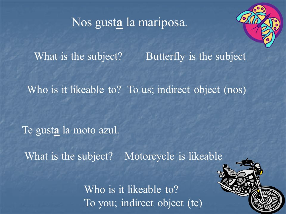 Nos gusta la mariposa. What is the subject Butterfly is the subject