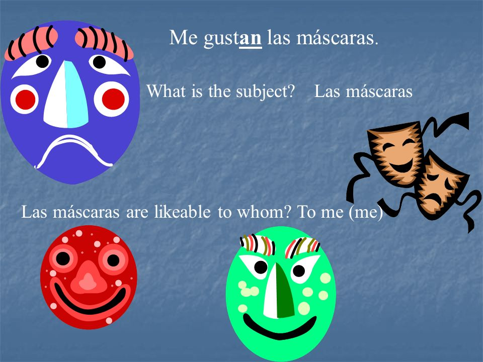 Me gustan las máscaras. What is the subject Las máscaras