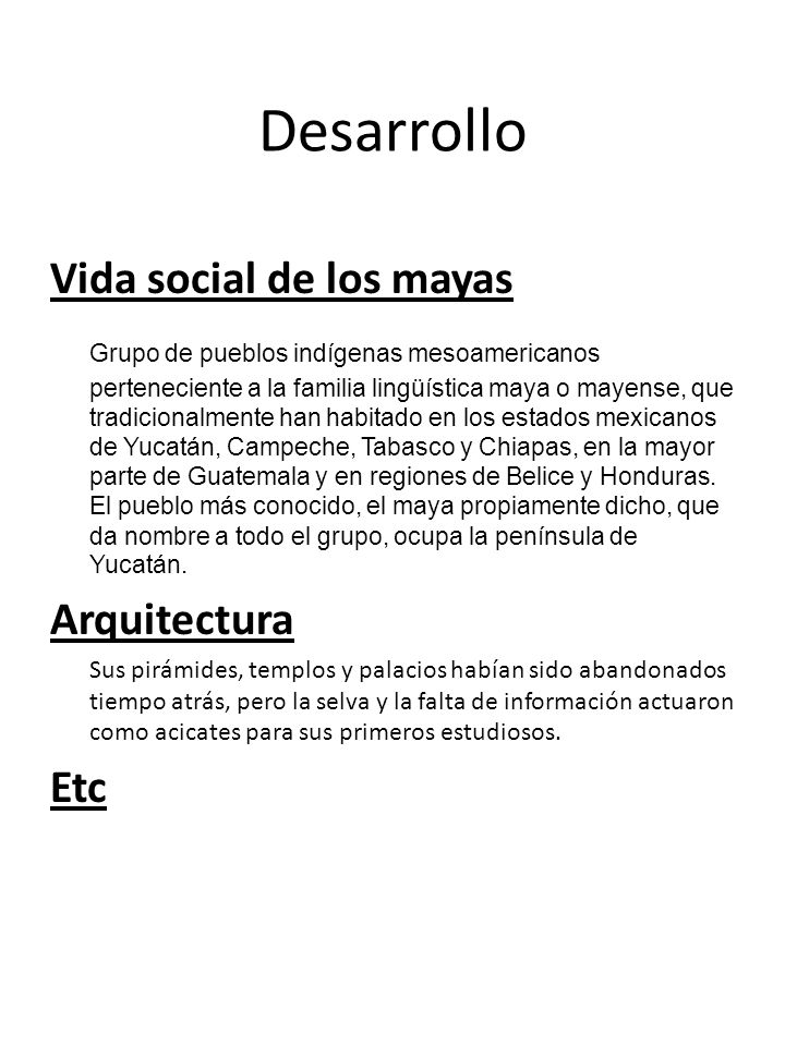 Desarrollo Vida social de los mayas