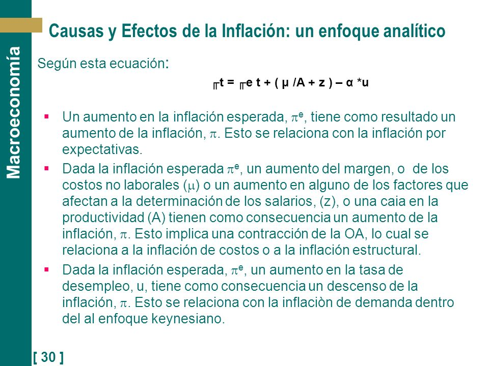 Causas y Efectos de la Inflación: un enfoque analítico