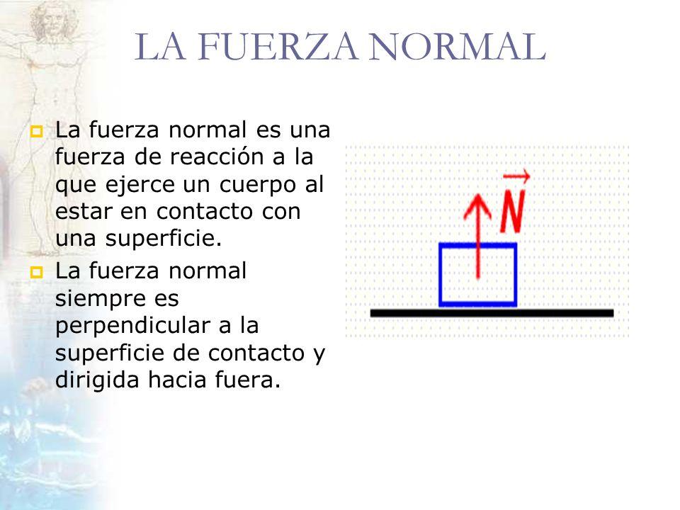 LA FUERZA NORMALLa fuerza normal es una fuerza de reacción a la que ejerce un cuerpo al estar en contacto con una superficie.