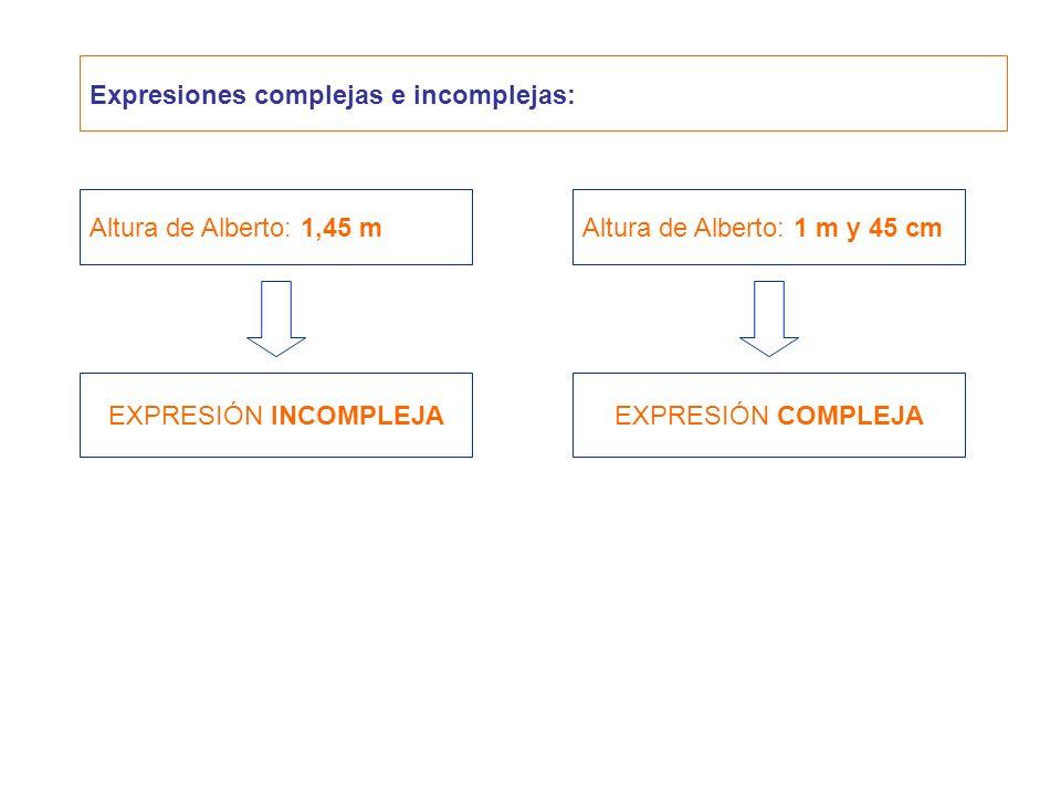 Expresiones complejas e incomplejas: