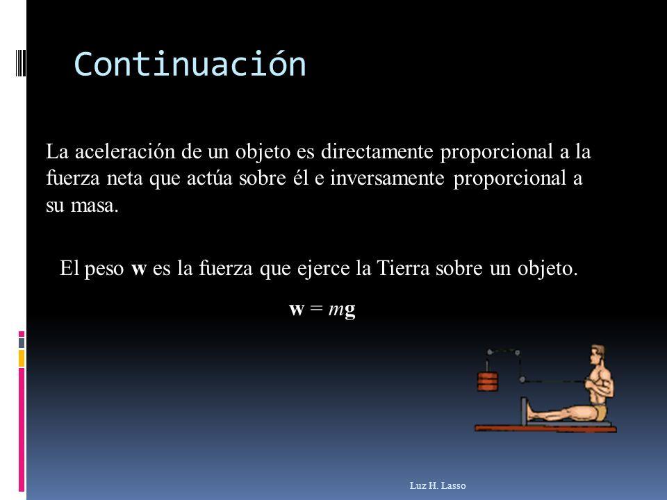 Continuación La aceleración de un objeto es directamente proporcional a la fuerza neta que actúa sobre él e inversamente proporcional a su masa.