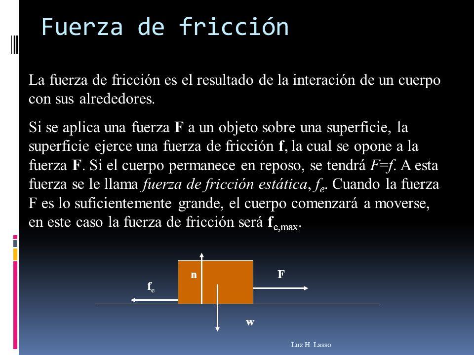 Fuerza de fricción La fuerza de fricción es el resultado de la interación de un cuerpo con sus alrededores.