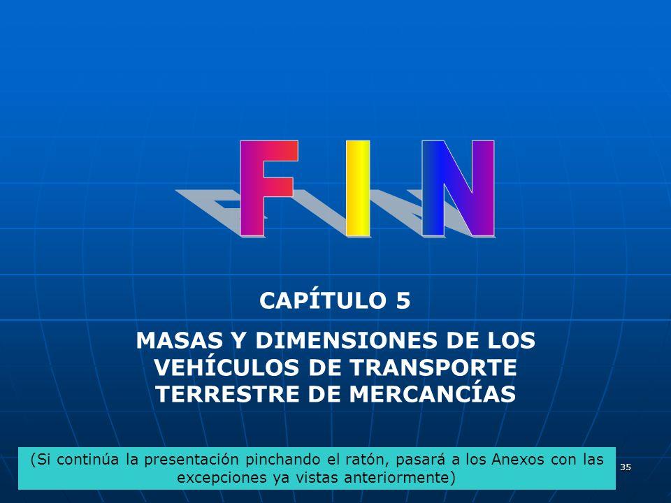 F I N CAPÍTULO 5. MASAS Y DIMENSIONES DE LOS VEHÍCULOS DE TRANSPORTE TERRESTRE DE MERCANCÍAS.