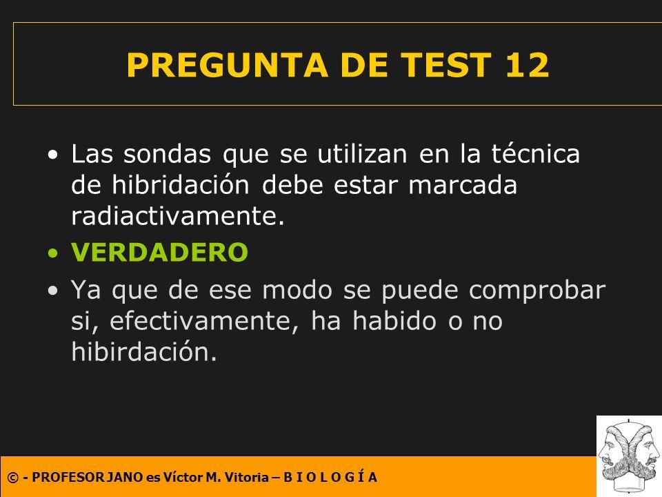 PREGUNTA DE TEST 12 Las sondas que se utilizan en la técnica de hibridación debe estar marcada radiactivamente.