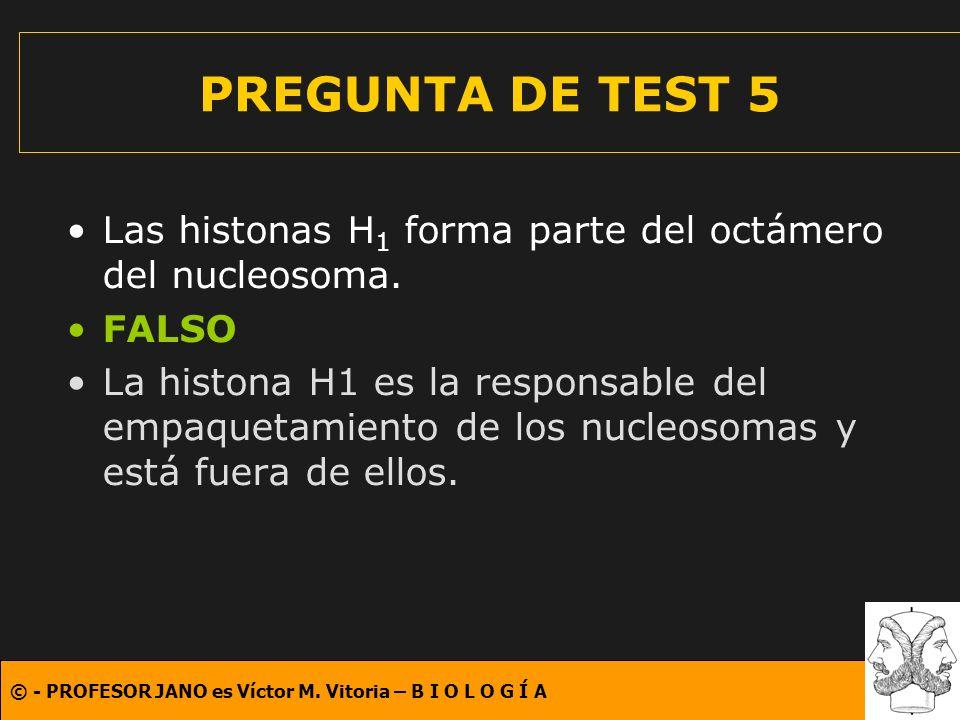 PREGUNTA DE TEST 5 Las histonas H1 forma parte del octámero del nucleosoma. FALSO.
